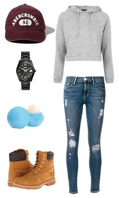 """Mountain Hike"" by armbelggirl ❤ liked on Polyvore featuring Abercrombie & Fitch, Topshop, Frame Denim, Timberland, FOSSIL and Eos"