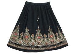 Bohemian Black Skirt, Designer Sparkly Sequin Knee Length Boho Skirt for Womens Mogul Interior,http://www.amazon.com/dp/B00BPP2HIC/ref=cm_sw_r_pi_dp_.g0trb82328A429F