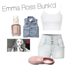 """""""Emma Ross Bunk'd inspired outfit"""" by narina-hames ❤ liked on Polyvore featuring LE3NO, Topshop, Abercrombie & Fitch, Vans and Essie"""