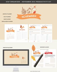 The November 2015 productivity kit is here. Now with two additional Holiday Business planners! What is included: – Desktop wallpaper calendar November 2015 – Monthly planner printable N…