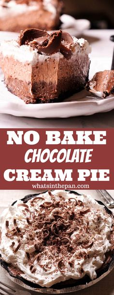 No Bake Chocolate Cream Pie - who needs a pumpkin pie when you can have a chocolate holiday pie! #nobake #holidaydessert #chocolate #dessert #pie