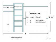Increasing Closet Space: How To Install A Closet Organizer Walk In Closet Size, Closet Space, Bedroom Organisation, Closet Organization, Organiser Planning, Closet Rod Height, Diy Closet System, Closet Ideas, Closet Remodel