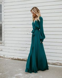 Long Sleeve Diana Maxi Dress - Dark Teal