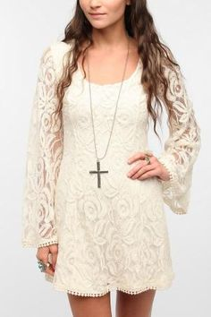 Staring At Stars Lace Bell-Sleeve Dress by Cindy Louise