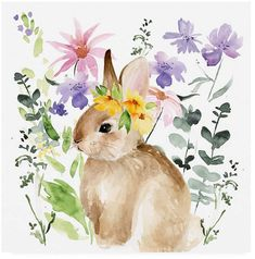 Trademark Fine Art 'Watercolor Spring Garden I' Canvas Art by Jennifer Paxton Parker, Size: 35 x Green My Canvas, Canvas Prints, Lapin Art, Bunny Art, Fine Art, Spring Garden, Spring Art, Online Art Gallery, Watercolor Paintings