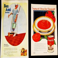 """___ Art Advertising Home Decor Vtg Retro 10x16 Print Wall Decorative Novelty Real As___ Hi there...... original 1920s, two large magazine advertising prints measuring 10-1/2"""" x 16"""", the second one is a little smaller --- Campbells Soup...chromolitho nice deep red..."""