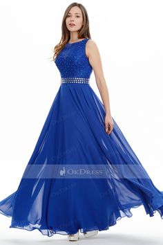 A-line/Princess Floor-length Royal Blue Beaded Formal Evening Dresses - Formal Dresses - Special Occasion Dresses Cheap Party Dresses, Party Dresses Online, Cute Prom Dresses, Grad Dresses, Formal Evening Dresses, Formal Gowns, Evening Gowns, Prom Dresses Australia, Dresser