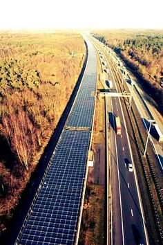 A two-mile stretch on a rail between Paris and Amsterdam is topped with 16,000 solar panels - this project generates the equivalent to that needed to power all trains in Belgium for one day per year.