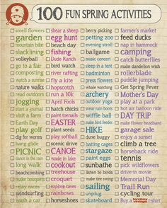 Spring Checklist, Fun Spring To Do List, Spring Activity Ideas.  I love these checklists the most!
