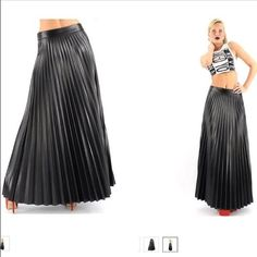 Black Pleated Maxi Skirt   Fashion Remix Boutique $40 In stock