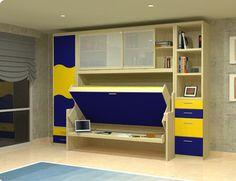 cama mesa con parte alta cerrada con dos puertas correderas.  al lado un mueble de armario y otro de libreria con cajones