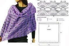 Tejido Facil: Patrón: capa calada con abanicos y cuello volcado en lila