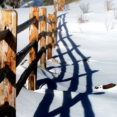 Fence Shadow on the Snow