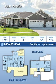 Craftsman Home Floor Plan Offers 3235 Sq Ft, 5 Beds, 4 Baths and a 3 Car Garage - An open concept Craftsman floor plan with coffered ceilings in the great room that frame the living - Floor Plan 4 Bedroom, 4 Bedroom House Plans, Garage House Plans, 3 Car Garage, Ranch House Plans, New House Plans, Small House Plans, House Floor Plans, Ranch Floor Plans