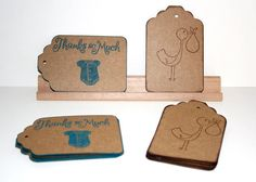 Baby Shower Gift Tags Set of 23  Stork and Onesie by Booksonblocks, $3.50