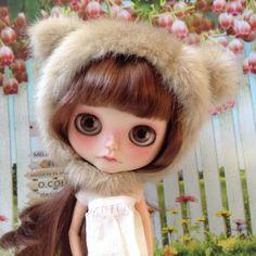 Blythe Doll Bear Helmet / blonde / furry
