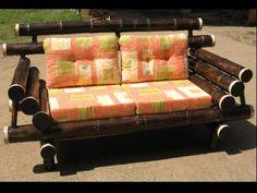Bamboo Living Room furniture in Costa Rica Bamboo Art, Bamboo Crafts, Bamboo Furniture, Outdoor Furniture, Backyard Deck Ideas On A Budget, Sala Set, Tiki Bar Decor, Bamboo Design, Small Garden Design