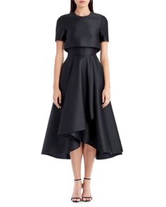 Short-Sleeve Sateen Popover Cocktail Dress by Jason Wu at Bergdorf Goodman.