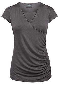 Milk Nursingwear Side-Shirred Nursing Top in Short Sleeves