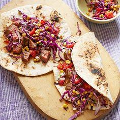 Steak Tacos with Corn Salsa (with fresh corn & ricotta pasta & asian steak salad) Spanish Dishes, Mexican Dishes, Mexican Food Recipes, Beef Recipes, Cooking Recipes, Mexican Meals, 30 Min Meals, Fast Meals, Steak Tacos