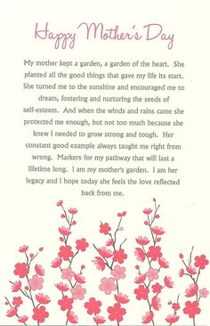 Mother Quotes : Mothers Day Card Cherry Blossom Mothers Day Card Pink Flowers Mothers Day Card Pink Floral Card for Moms Gardeners Mothers Day Card Happy Mothers Day Wishes, Happy Mother Day Quotes, Happy Mother's Day Card, Mother Quotes, Poems For Mothers Day, Mothers Day Saying, Happy Mothers Day Images, Mom Poems, Best Mothers Day Messages
