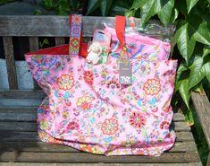 7151158a8f3bc Strandtasche XXL Shopper rosa bunt gemustert Strandlaken Set