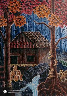 Rysunek chaty, może wiejskiej, najpewniej jest to rysunek starej chaty w gęstym lesie! Jesienna sceneria, strumyk i skały. Dom w środku lasu - brzmi jak horror! A może do dobra ilustracja do książki, lub jako ilustracje dla dzieci albo do bajek? Miłego oglądania, Jakub Łechtański.