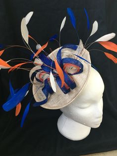 Blue, Orange and Cream Fascinator with Coq Feathers for Ascot 2016 - Welsh Hats by Sian