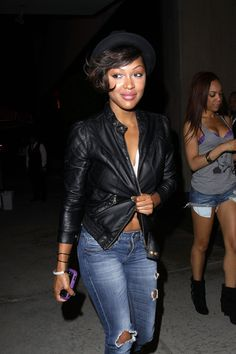 Meagan Good Bowler Hat - Meagan paired her leather jacket with a sleek bowler hat. Meagan Good Short Hair, Meghan Good, Cool Short Hairstyles, Celebrity Hairstyles, Short Hair Styles, Beautiful Black Women, Beautiful People, Her Style, Cool Style