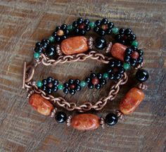SALE 20% Off Pumpkin Jasper and Black Agate Triple Strand Bracelet                       FREE Shipping USA