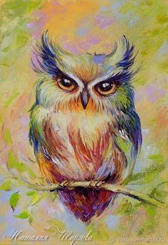 """Pretty colorful owl painting, """"big-Eyed Fluffy"""" oil on canvas on Livemaster online shop #OilPaintingOwl"""