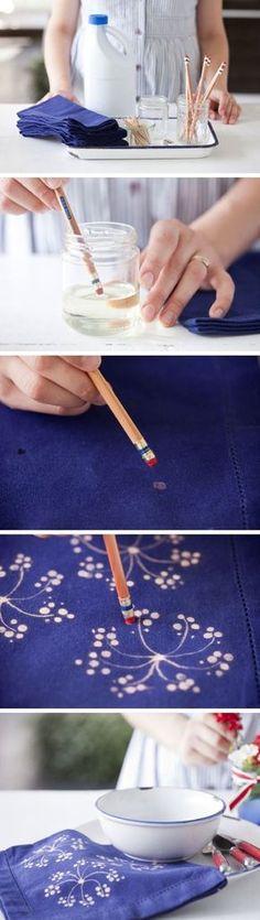 Bleichepunkte mit Radiergummi (Diy Shirts Printing)