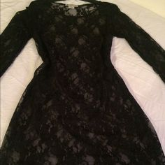 Sheer Lace Dress❤️ New. Stretchable. Completely sheer. Can wear with black, pink or beige mini slip.  I'm showing with black slip. Dresses Long Sleeve