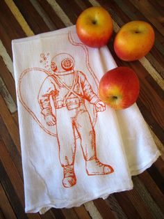 I have this in turquoise, so soft & ohsocool. :o) Tea Towel  Screen Printed Organic Cotton Flour by ohlittlerabbit on Etsy!