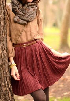 Fall style - beautiful colors and style. Just wish the skirt was a little longer