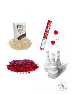 Kit completo nozze W gli sposi. Kit completo per realizzare le tue nozze.  Il kit comprende:  10 confezioni di riso bianco;  5 confezioni di cuoricini da lancio rossi;  48 bolle di sapone tortina; 4 sparacoriandoli cuoricini rossi e bianchi. In #promozione #confettata #confetti #matrimonio #weddingday #ricevimento #wedding #sconti #offerta #kitsposi #riso #bolledisapone #sparacoriandoli