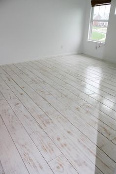 """.: DIY wide PLANKED FLOORS - plywood- bedroom for ~$200 - 8"""" wide - whitewashed with primer"""