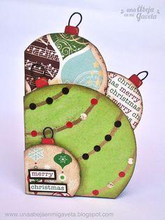 Una abeja en mi gaveta: Reto 12 Tarjetas de Navidad: nº2 - Shaped Card Christmas Cards To Make, Christmas Gift Tags, Xmas Cards, Diy Cards, Holiday Cards, Christmas Crafts, Merry Christmas, Christmas Decorations, Christmas Ornaments