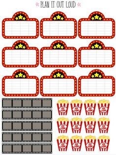Movie stickers Erin Condren planner stickers by PlanItOutLoud Free Planner, Happy Planner, Planner Ideas, Printable Planner Stickers, Printables, Planner Organization, Organizing, Erin Condren Life Planner, Carnival Photography