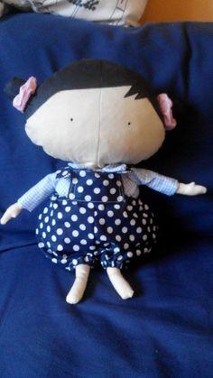 Baby Tilda in darkbluewhite dungarees :)