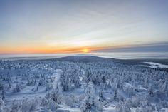 Winter sunset. Iso-Syöte , Pudasjärvi , Finland. by Tiina Törmänen