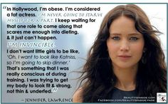 "Jennifer Lawrence on being a ""fat actress"". Its so nuts how Hollywood considers a size 6 as plus size!! What are we teaching our children??"