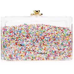 ashlyn'd Sprinkles Clutch (725 PLN) ❤ liked on Polyvore featuring bags, handbags, clutches, multi, lucite handbags, acrylic purse, lucite purse, transparent handbags and acrylic handbag
