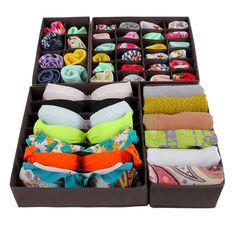 Songmics Foldable Storage Box Bra Underwear Closet Organizer Drawer Divider Kit Set of 4 Dark Brown Plastic Drawer Organizer, Closet Organizer With Drawers, Closet Dividers, Drawer Organisers, Drawer Dividers, Under Bed Organization, Clothes Drawer Organization, Underwear Organization, Bra Storage