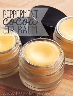 Peppermint Cocoa Lip Balm | www.EssentiallyEclectic.com | This homemade peppermint cocoa lip balm is easy to make, great for your lips and much more affordable than store-bought balm! Learn to make it yourself with this simple tutorial.