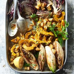 Roasting endive and radicchio at a high heat mellows their bitterness. They're perfect when paired with sweet delicata squash and browned butter.  /
