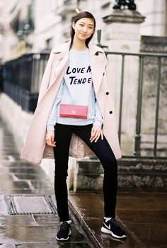 A statement sweatshirt paired with trend and Nike sneakers. #streetstyle
