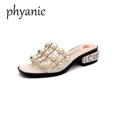 Phyanic Brand Woman Summer Slippers Sandals Low Heel Cut-out Pearl Women  Stiletto High Heels Open Toe Slides Women Summer Shoes 8a67a7dfbf80
