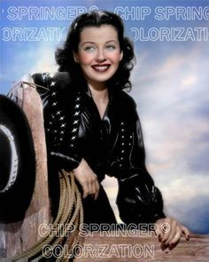 GAIL RUSSELL BLACK COWGIRL OUTFIT (#1) BEAUTIFUL COLOR PHOTO BY CHIP SPRINGER. Featured Ebay Listing. Please visit my Ebay Store, Legends of the Silver Screen, at http://legendsofthesilverscreen.com to see the current listings of your favorite Stars now in glorious color! Thanks for looking and check out my Youtube videos at https://www.youtube.com/channel/UCyX926rA5x4seARq5WC8_0w