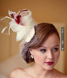 Yes - Bridal veil fascinator | CHECK OUT MORE GREAT RED WEDDING IDEAS AT WEDDINGPINS.NET | #weddings #wedding #red #redwedding #thecolorred #events #forweddings #ilovered #purple #fire #bright #hot #love #romance #valentines